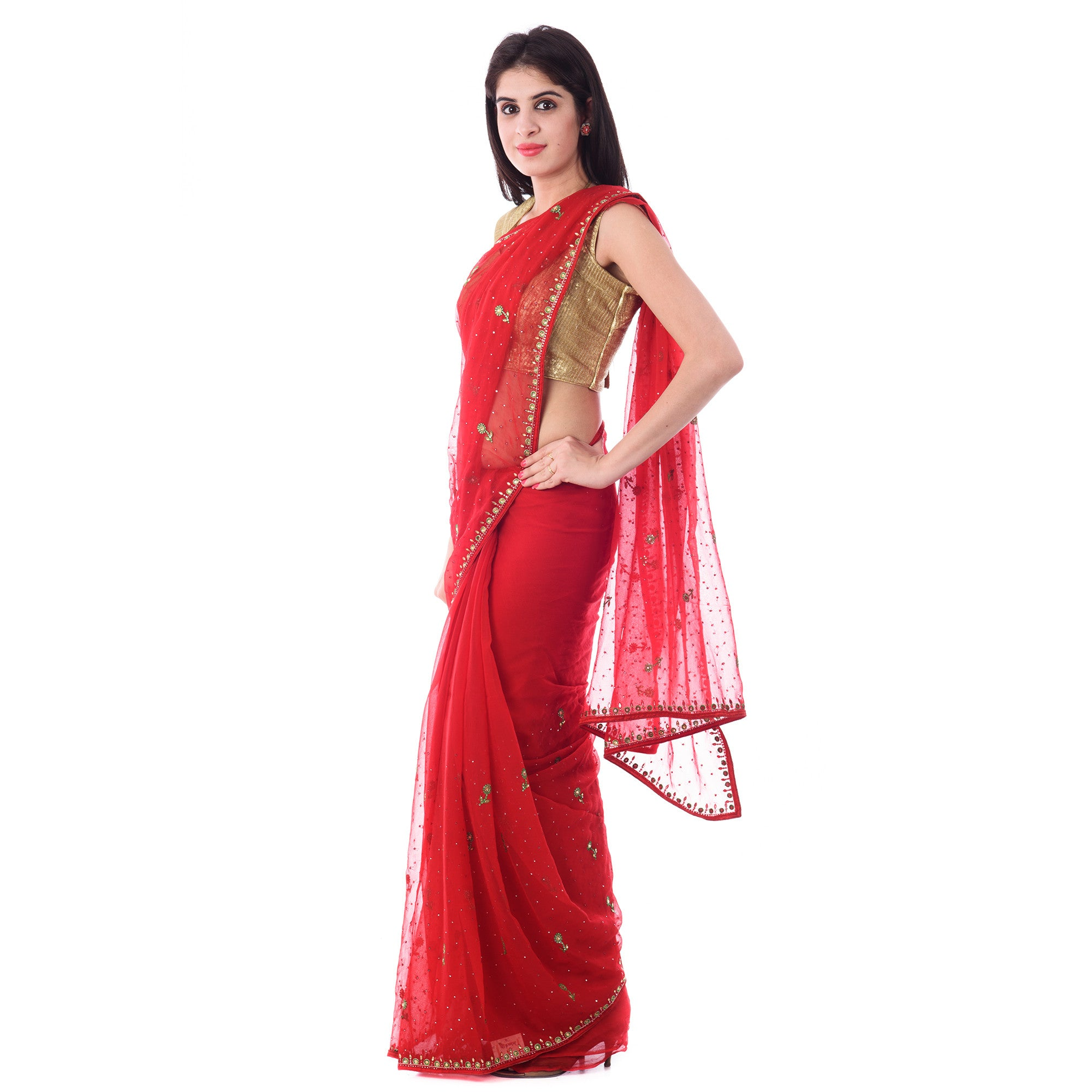 Red Chiffion Mirror and Resham Work Saree With Blouse Piece - Shri Krishnam