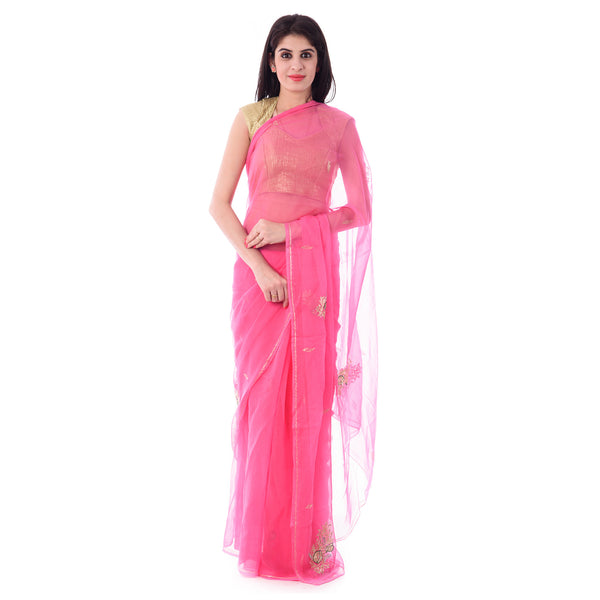 Pink Chiffion Intricate Aari and Stone Work Saree With Blouse Piece - Shri Krishnam