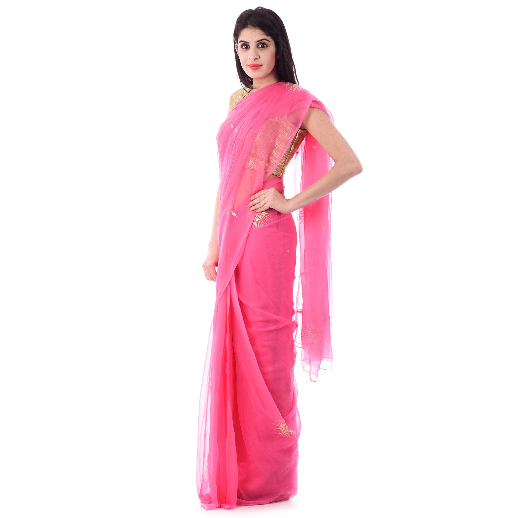 Pink Chiffion Saree With Intricate Aari Work Sun Motif and Blouse Piece - Shri Krishnam