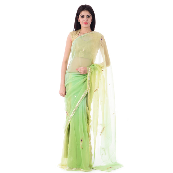 Multi Green Shaded Zari Border Chiffion Saree With Intricate Aari Work Feather Motif With Blouse Piece - Shri Krishnam