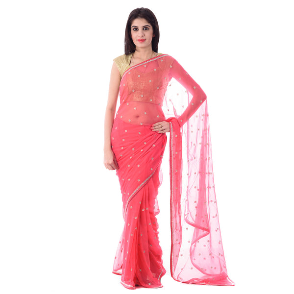 Dark Peach Chiffion Cut-Dana, Stone and Moti Work Saree With Blouse Piece - Shri Krishnam