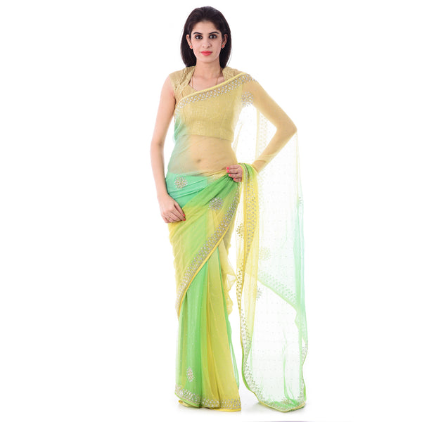 Multi Colour Chiffion Cut-Dana and Stone Work Saree With Blouse Piece - Shri Krishnam