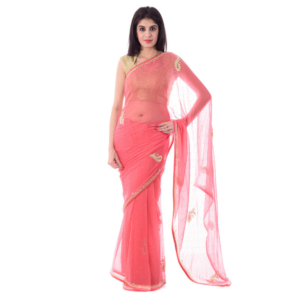 Dark Peach Chiffion Cut-Dana and Moti Work Saree With Blouse Piece - Shri Krishnam