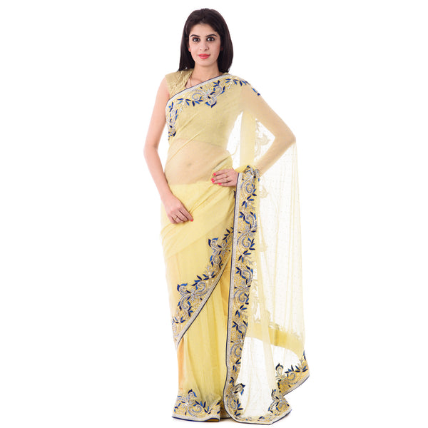 Off white/Cream Georgette Stone and contrast Resham Work Saree With Blouse Piece - Shri Krishnam