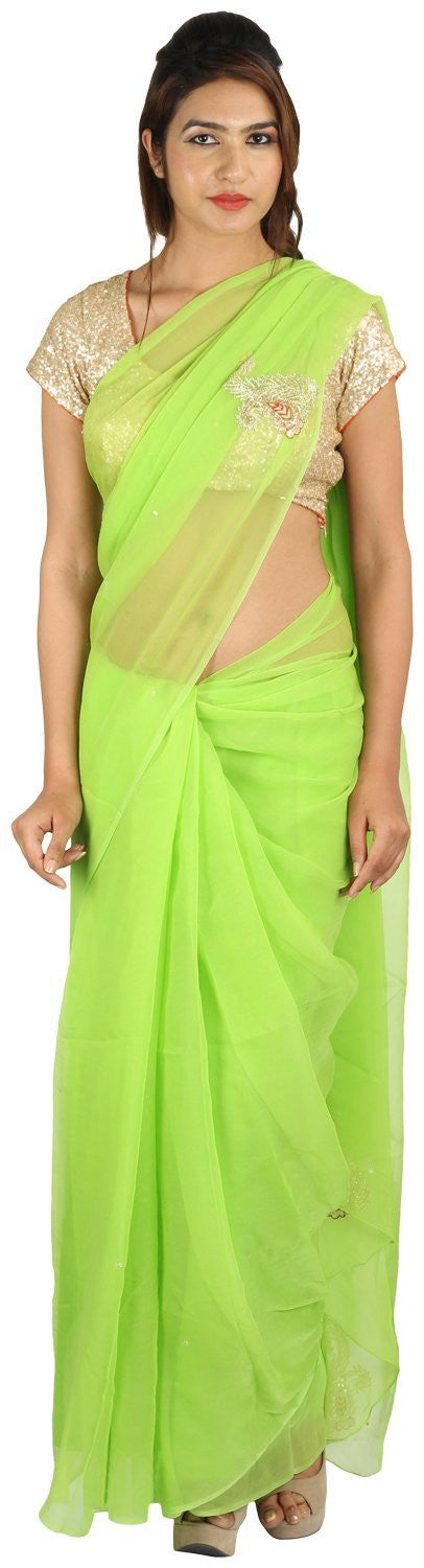 Shri Krishnam Women's Chiffion Cut-Dana and Stone Work Saree (Green_Free Size) - Shri Krishnam