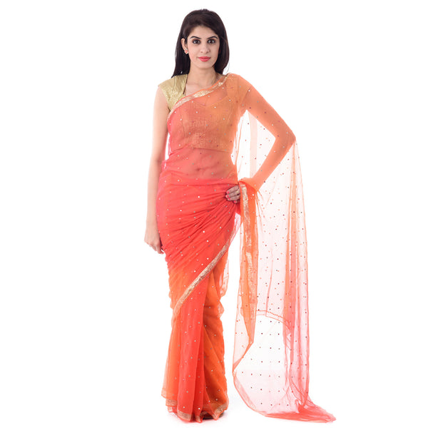 Multi Color Zari Chiffon Mirror Work Saree with Blouse Piece - Shri Krishnam