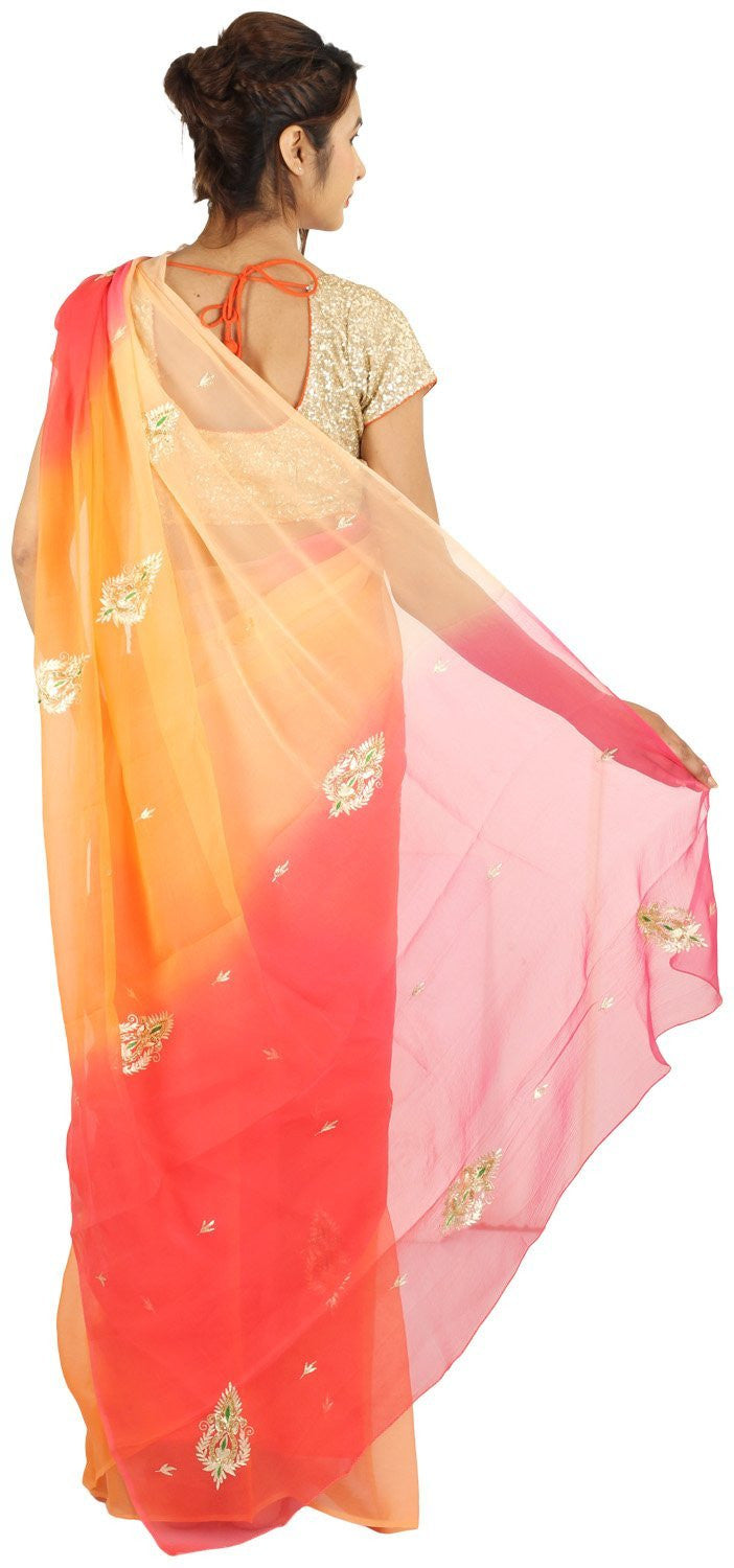 Shri Krishnam Women's Chiffon Saree with Aari and Resham Work (Multi Colour_Free Size) - Shri Krishnam