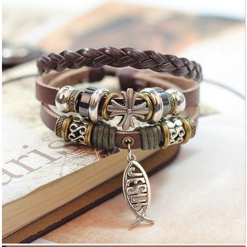 Bracelet - Handmade Leather Jesus Fish Bracelet