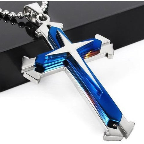 Necklace - Unisex Stainless Steel Cross Pendant Necklace  - 50% OFF