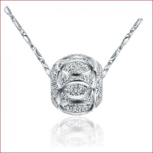 Silver Plated transfer beads pendant necklace - fashioniworld