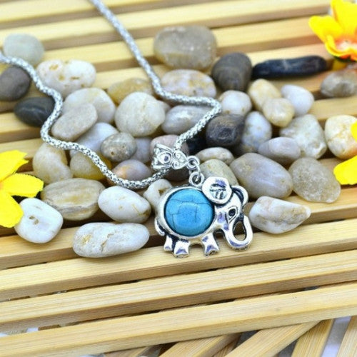 Elephant Necklace Silver Metal Turquoise Jewelry