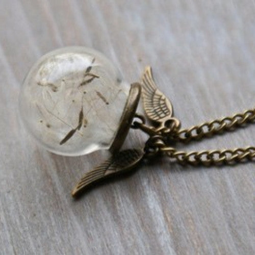 Harry Potter Angel Wings Wish Dandelion Necklace - fashioniworld