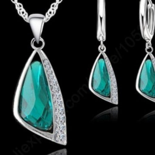 925 Sterling Silver Crystal Jewelry Hoop Earrings and Necklace Set