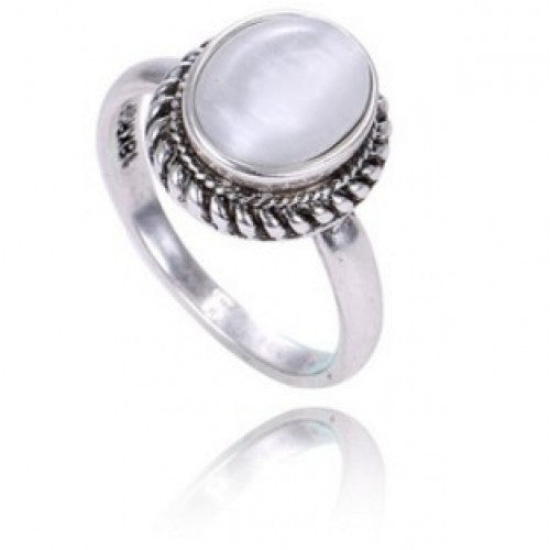 Oval Natural Stone Opal Rings for Women