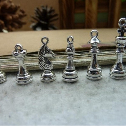 Antique Silver Chess Charm Pendant