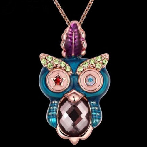 Owl Pendant Necklaces 18K Real Gold Plated Necklace For Women