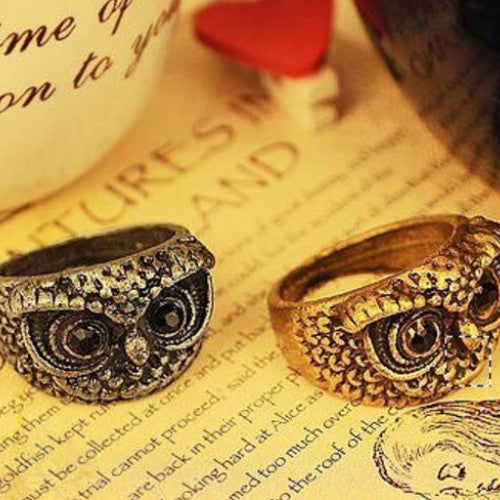 Retro Sweet Bird Owl Carve Feather Dress Round Ring