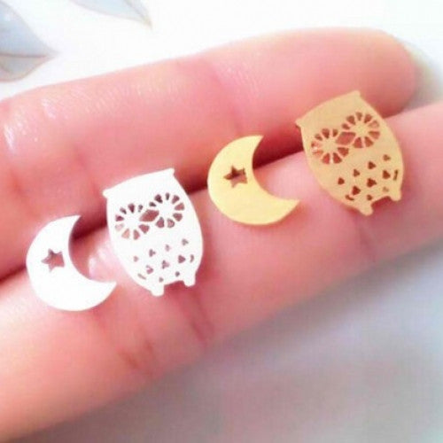 Simple Cute Crescent Moon and Owl Earring