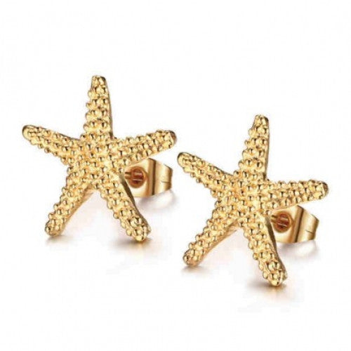 Elegant Gold Plated Starfish Stud Earrings