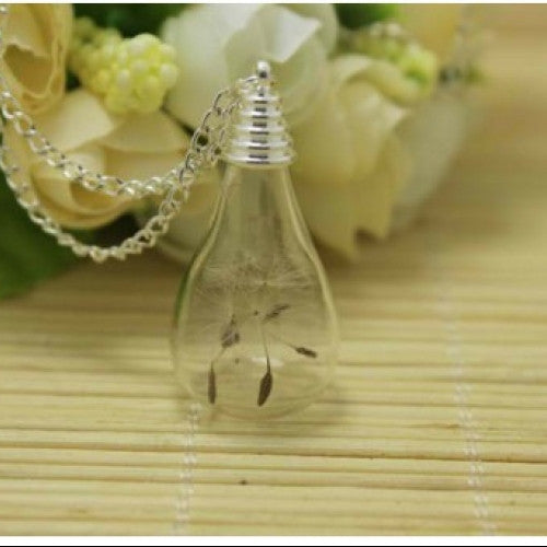 Teardrop Glass - Real Dandelion Flowers Seed Necklace