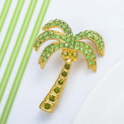 Crystal Green Coconut Tree Safety Pin Brooch