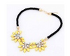 Vintage Bohemia Statement Weave Link Chain Crystal Flower Necklace - fashioniworld