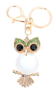 Cute Owl Pendant Keychain Crystal Charm Purse Handbag Car Key Ring