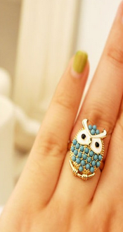 Unique Cute Beads Resizable Animal Owl Ring For Women