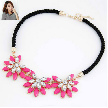 Vintage Bohemia Statement Weave Link Chain Crystal Flower Necklace