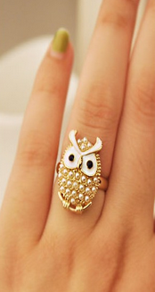 Unique Cute Beads Resizable Animal Owl Ring For Women - fashioniworld
