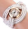 Multilayer Leather Strap Rhinestone Weave Wristwatch