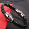Religious Cross Snake Braid Leather Bracelet for Men - fashioniworld