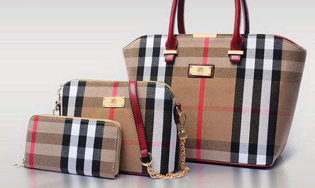 Leather Canvas Plaid Bag Set 3 Pieces Women Handbags and Purses