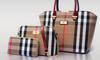Leather Canvas Plaid Bag Set 3 Pieces Women Handbags and Purses - fashioniworld