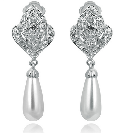 Diamond Jewelry Simulated Pearl Earrings For Women