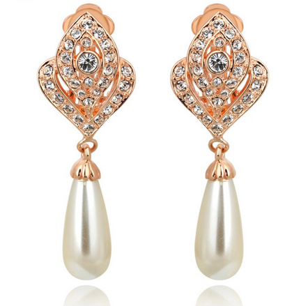 Diamond Jewelry Simulated Pearl Earrings For Women - fashioniworld