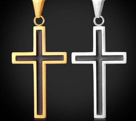 316L Stainless Steel 18K Gold Plated Religious Christian Black Cross Pendant - fashioniworld