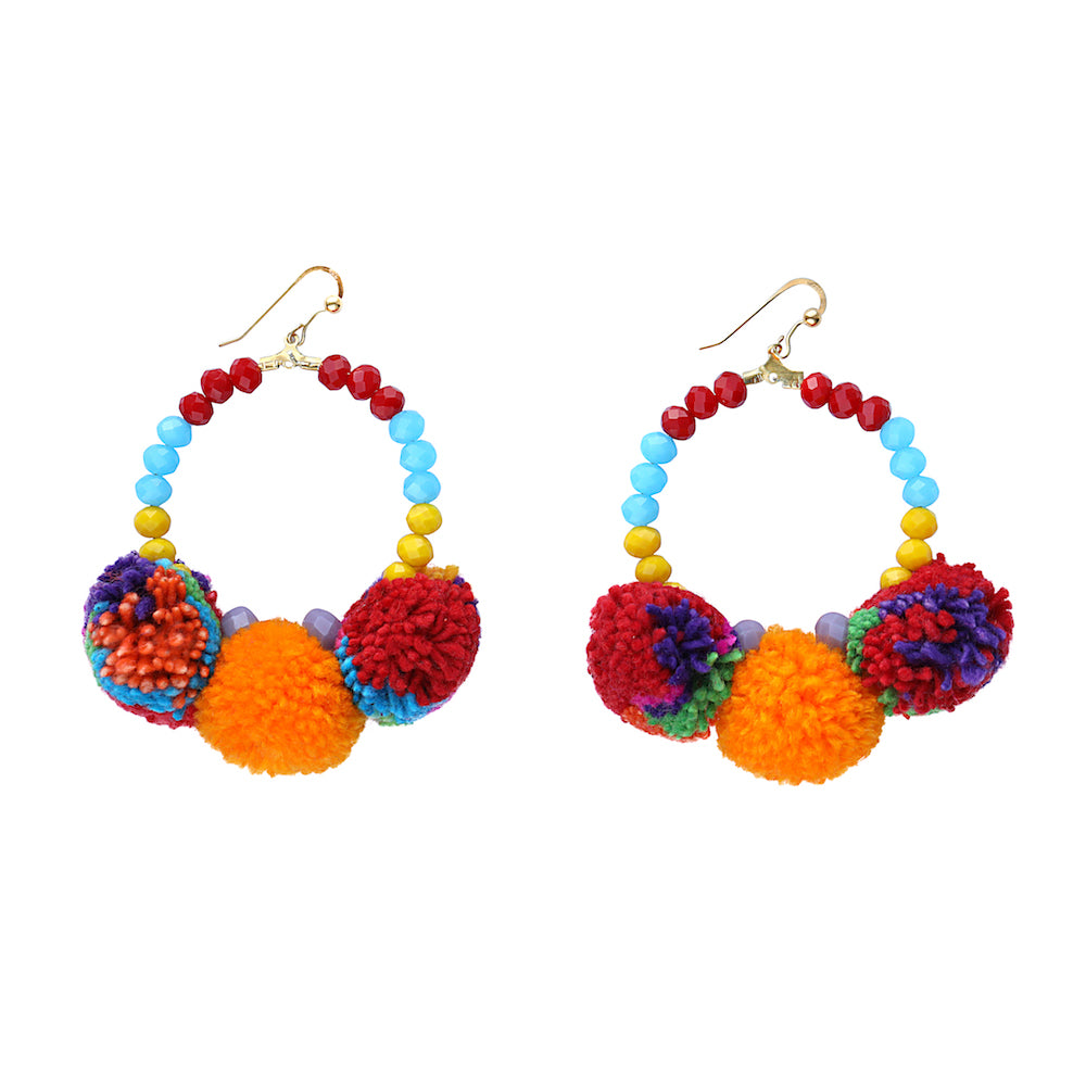 Orange and Multi Pom Pom Earrings