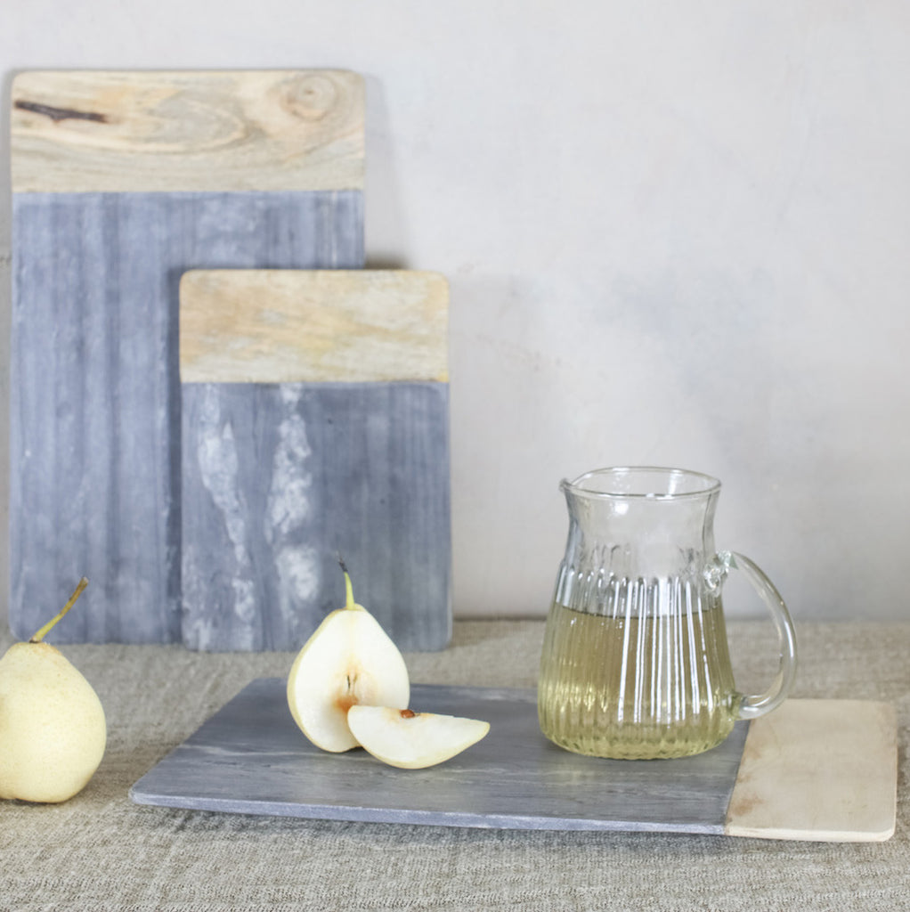Grey Marble and Mango Wood Chopping Boards