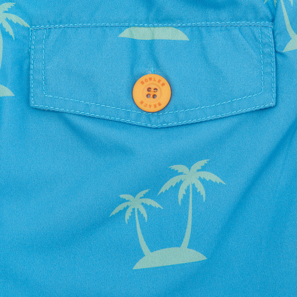 blue palm tree print swimming shorts from bowler and beach