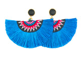 Fan Tassel Earrings - Blue