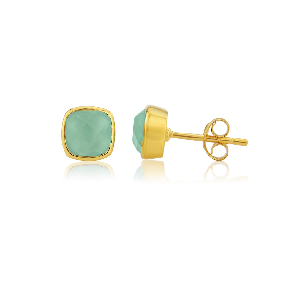 Brooklyn Gold & Aqua Chalcedony Cushion Stud Earrings