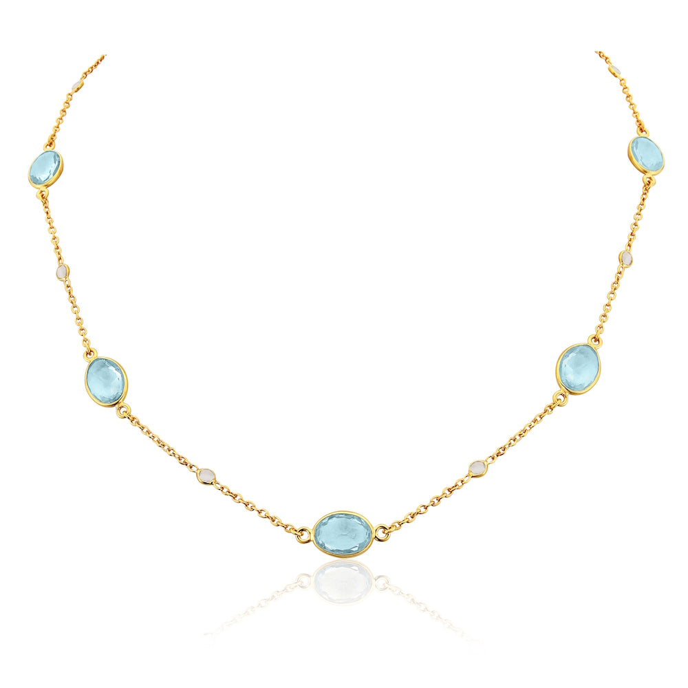 Cannes Blue Topaz and 18ct Gold Vermeil Necklace