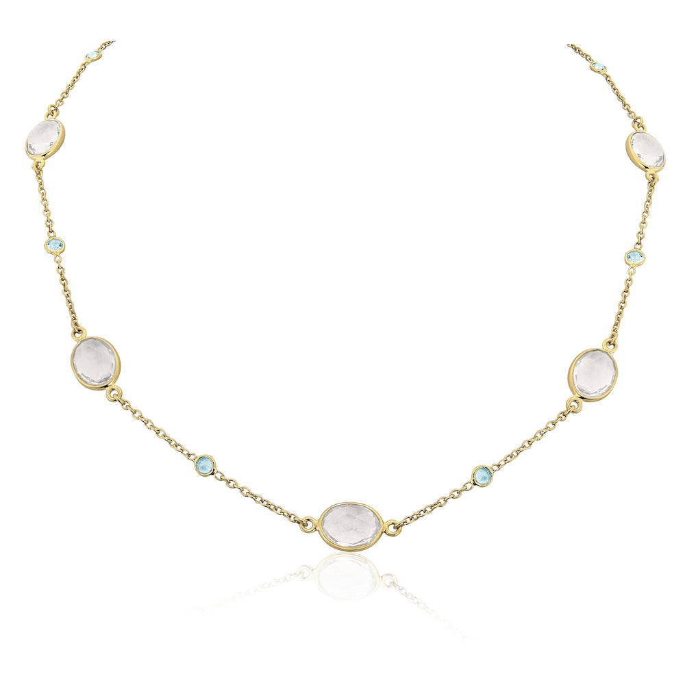 Cannes Crystal and 18ct Gold Vermeil Necklace