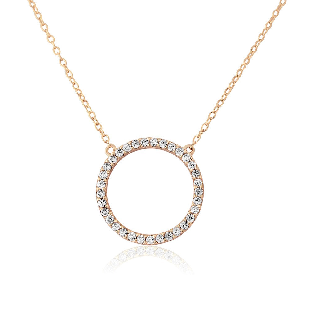 Chora Circle 18ct Rose Gold Vermeil & Cubic Zirconia Necklace