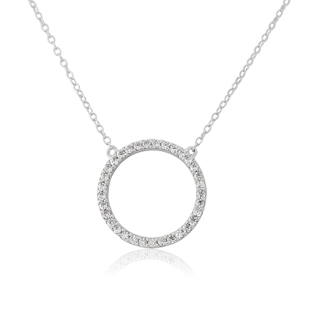 Chora Circle Sterling Silver & Cubic Zirconia Necklace