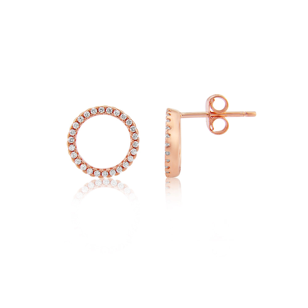 Chora Circle Rose Gold & Cubic Zirconia Earrings