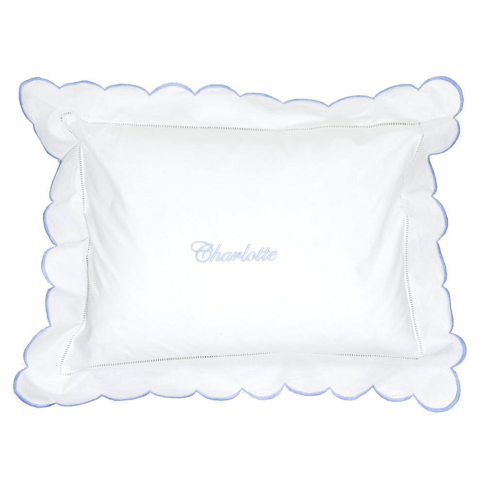 Blue Scalloped Edge Baby Pillowcase