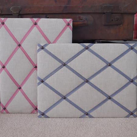 Grey Linen Fabric Noticeboard with Coloured Ribbon