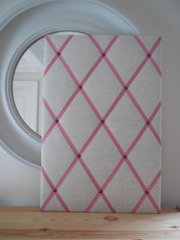 Linen Fabric Noticeboard with Gingham Ribbon